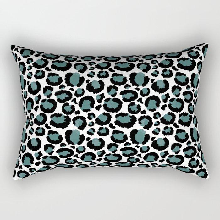 Teal Leopard Animal Print Pattern Rectangular Pillow