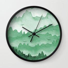 misty mountains - green palette Wall Clock