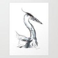 Heron, Watercolor Art Print