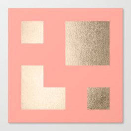 Simply Geometric White Gold Sands on Salmon Pink Canvas Print
