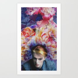 Bowie and Flowers 4 Art Print
