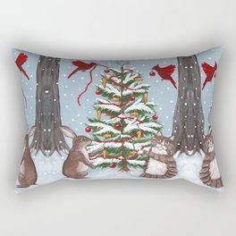 Rabbit and Cat Christmas Tree Rectangular Pillow