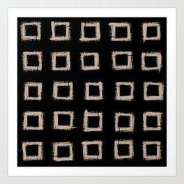 Square Stroke Dots Nude on Black Art Print