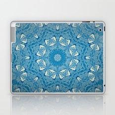 Wisdom is a Butterfly -- Bohemian Mandala in Vintage Ivory on Blue Duotone Laptop & iPad Skin