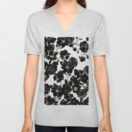 Modern Elegant Black White and Gold Floral Pattern Unisex V-Neck