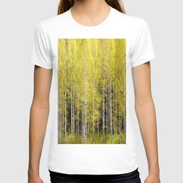 Lovely spring atmosphere - vibrant green leaves on the trees - beautiful birch grove T-shirt