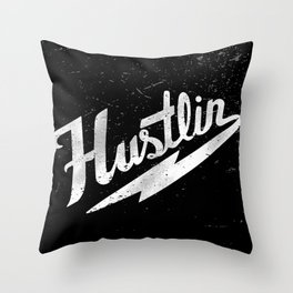 Hustlin - Black background with white image Throw Pillow