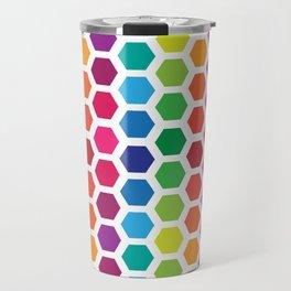 Rainbow Hexies Pattern Design Travel Mug