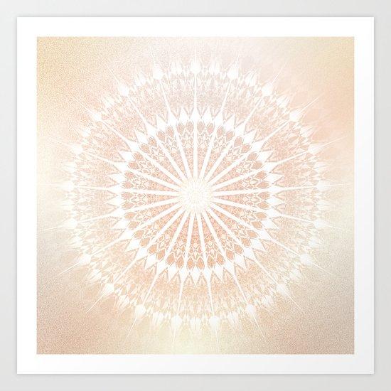 Beige Gold  Glittering Mandala Art Print