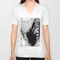 jaws V-neck T-shirts featuring Jaws by Sinpiggyhead