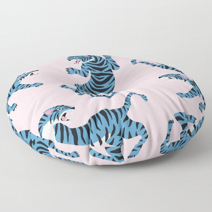 Pastel Pink & Blue Tiger Pattern Floor Pillow