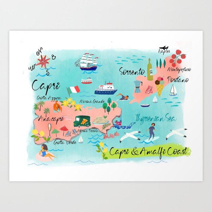 Capri And Amalfi Coast Illustrated Map Art Print By Elisandra