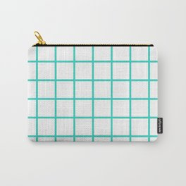 GRID DESIGN (TURQUOISE-WHITE) Carry-All Pouch