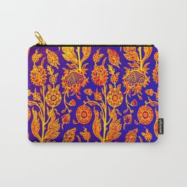 Resplendent Floral Yellow Red Blue Pattern Carry-All Pouch