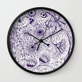 Floral doodles Wall Clock
