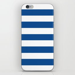 Yale Blue - solid color - white stripes pattern iPhone Skin