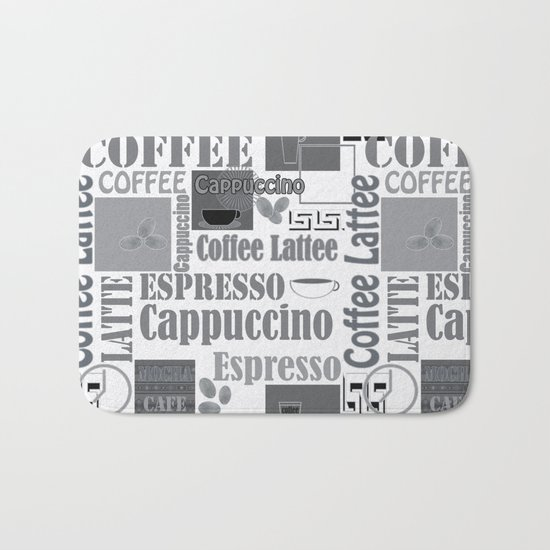 "Black and white pattern. ""Favourite coffee "" Bath Mat"