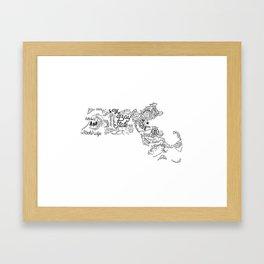 Massachusetts - Hand Lettered Map Framed Art Print