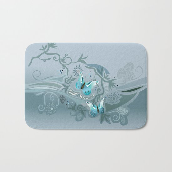 Butterfly tangle, colony blue Bath Mat