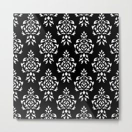 Crest Damask Repeat Pattern White on Black Metal Print