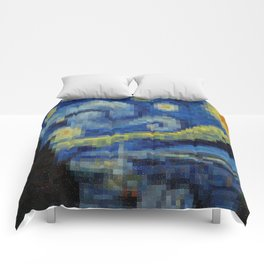Pixel Starry Night Comforters