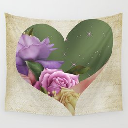 Heartfelt Love Letter & Roses Wall Tapestry