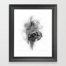 Cat Skull Charcoal Drawing Framed Art Print