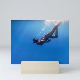 Women Snorkeling in the Tropical Sea, Underwater Women Mini Art Print