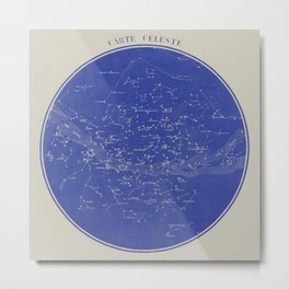 Celestial map representing the visible constellations in France - R. Barbot - 1874 Metal Print