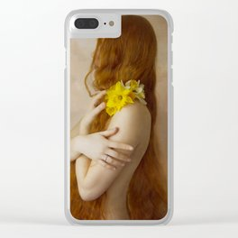 Preraphaelite Portrait with Daffodils Clear iPhone Case