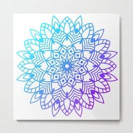 Round Gradient Mandala Colorful Metal Print
