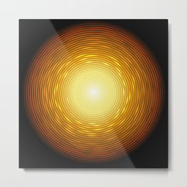 Abstract golden circle with glow light effect. Metal Print