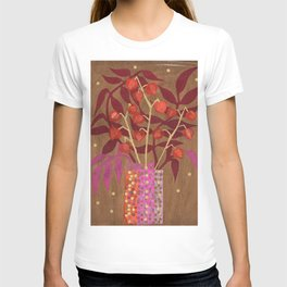 Chinese Lanterns, Physalis, Paper Collage Papercut Autumn Flowers Abstract Floral T-shirt