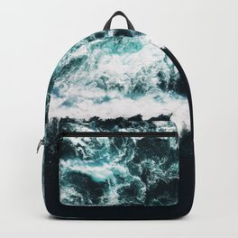 Oceanholic, Sea Waves Dark Photography, Nature Ocean Landscape Travel Eclectic Graphic Design Backpack
