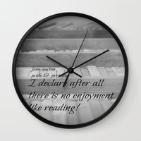 jane austen Wall Clocks featuring Jane Austen Reading by KimberosePhotography