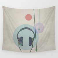 headphones Wall Tapestries featuring headphones by avoid peril