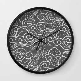 Vintage Japanese Clouds, Graphite Gray / Grey Wall Clock