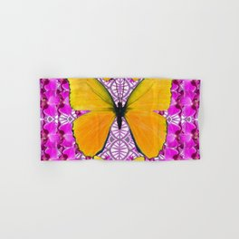 FUCHSIA COLORED  ORCHIDS &  YELLOW  BUTTERFLY FLORAL Hand & Bath Towel