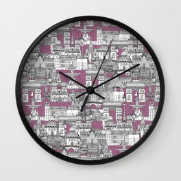 Paris toile raspberry Wall Clock