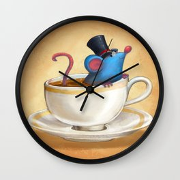 Mr. Bluemouse in a Teacup Wall Clock