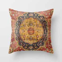 Indian Boho III // 16th Century Distressed Red Green Blue Flowery Colorful Ornate Rug Pattern Throw Pillow