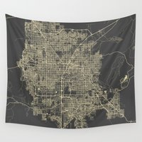 las vegas Wall Tapestries featuring Las Vegas Map #1 by Map Map Maps