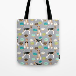 Wire Fox Terrier donuts dog pattern dog lover gifts for dog person dog breeds pet friendly Tote Bag