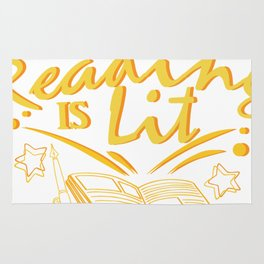 Reading Is Lit Funny Literacy Gift Rug