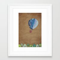 hot air balloon Framed Art Prints featuring Blue hot air balloon by Sof Andrade