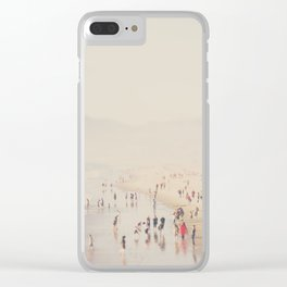 standing on the top of the world ... Santa Monica beach in winter Clear iPhone Case