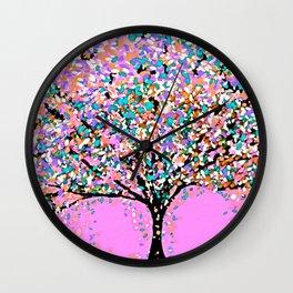Trees Pink Wall Clock