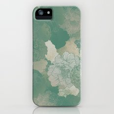 Teal Green Floral Hues iPhone (5, 5s) Slim Case