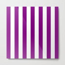 Vertical Stripes (Purple/White) Metal Print