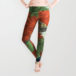 Hiroshige Temple & Mountains Leggings